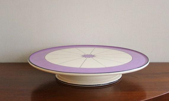 Large ceramic cake pedestal with purple design, Germany