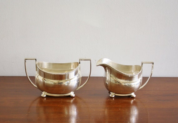 Antique silver plated sugar and creamer set