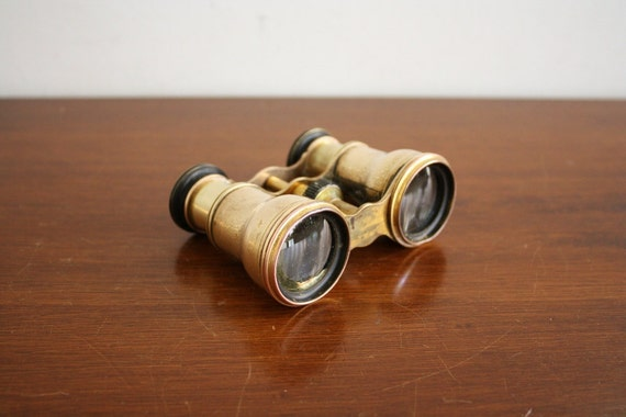 Antique French brass binoculars