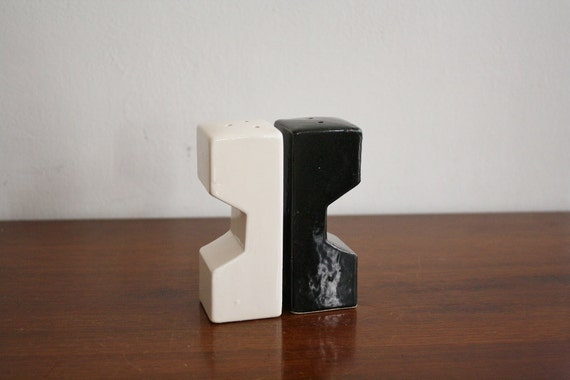 Modern black and white ceramic salt and pepper shakers