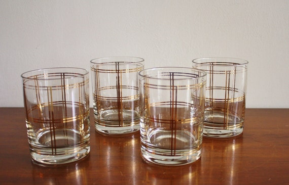 Set of 4 Georges Briard mid-century modern glasses, lowball cocktail barware