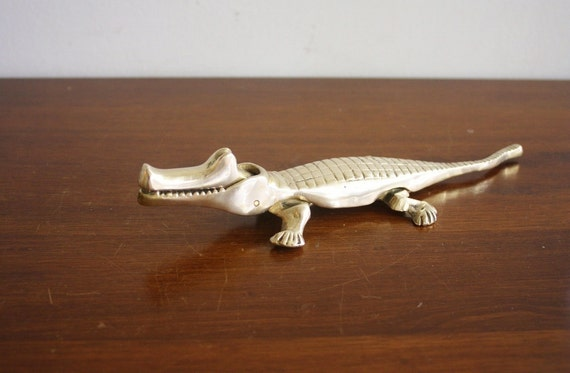 Vintage brass alligator nutcracker