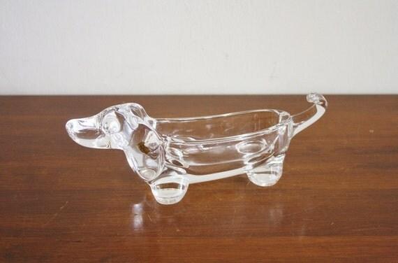 Vintage crystal daschund dish, France