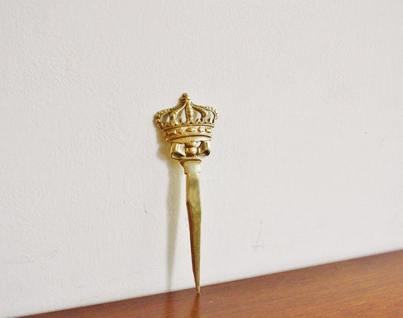 Vintage brass crown letter opener