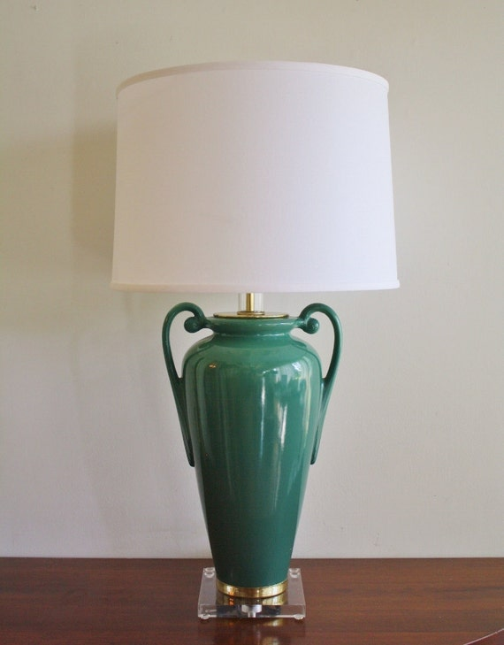 Large vintage green ceramic table lamp with lucite base