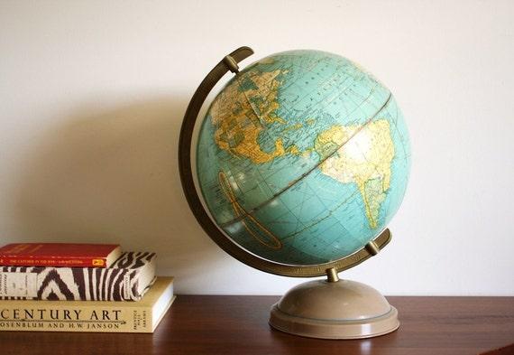 RESERVED FOR PIA -- Vintage 1950 globe Cram's Universal World Globe