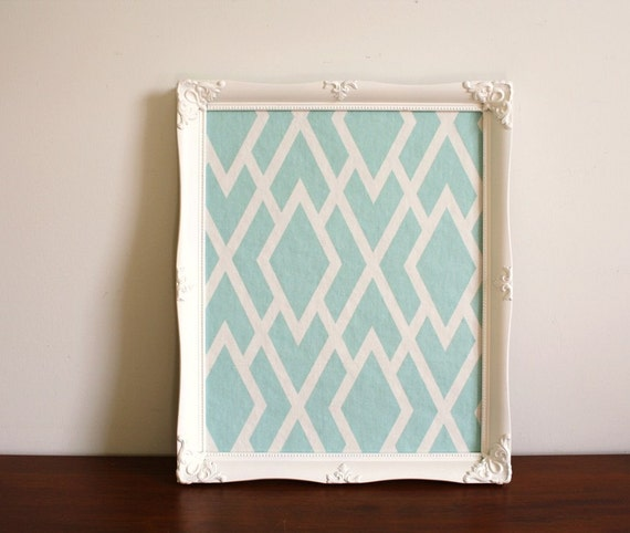 Bulletin Board With White Wood Frame And Blue Designer Fabric