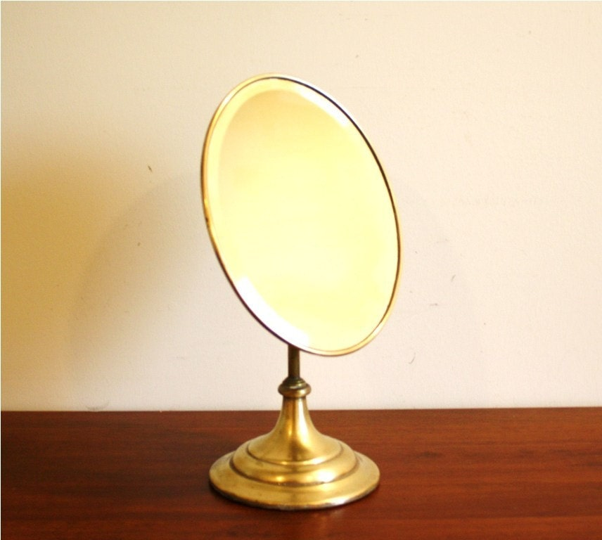 Antique brass vanity mirror oval standing mirror