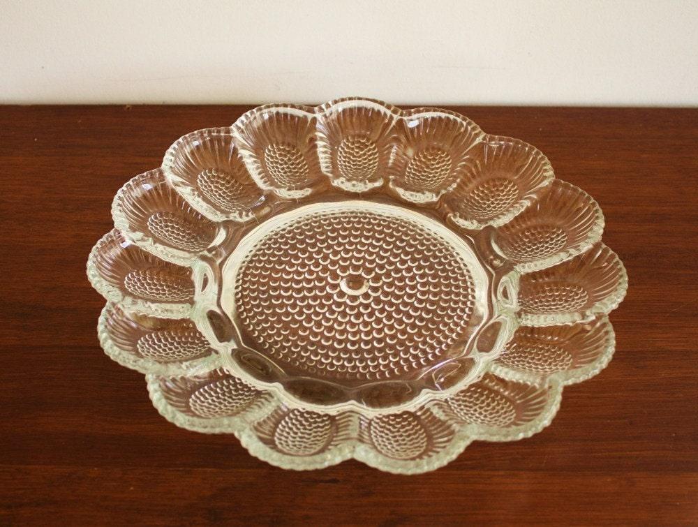 Vintage Crystal Deviled Egg Platter Serving Plate
