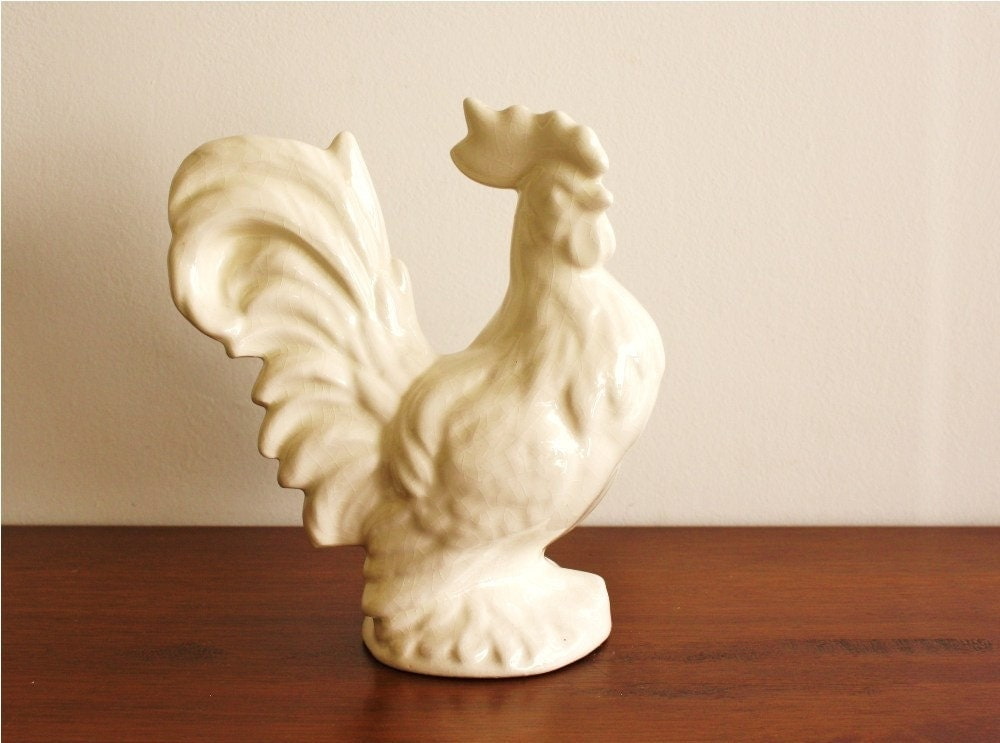 Vintage White Ceramic Rooster