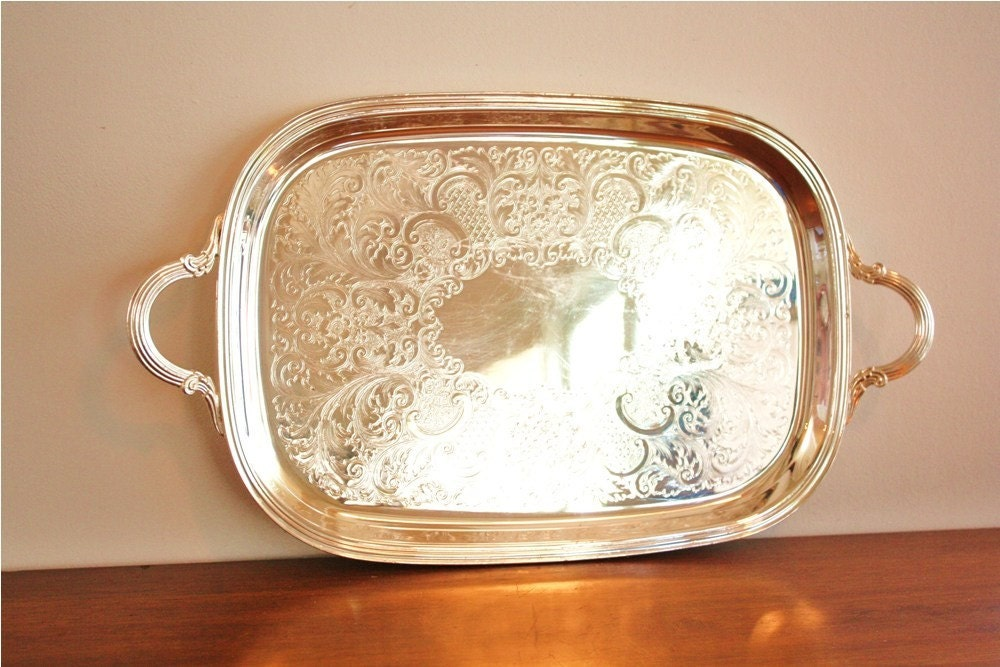 Silver Plated Rectangular Serving Tray Crescent Silver