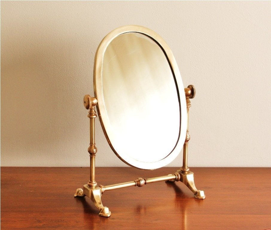 Large standing brass vintage vanity mirror for Large standing mirror