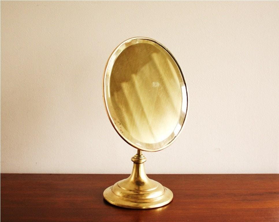 Antique Standing Brass Vanity Mirror By Highstreetmarket