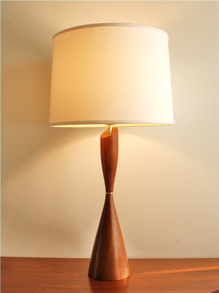 Midcentury modern wooden table lamp vintage for Lamp wooden