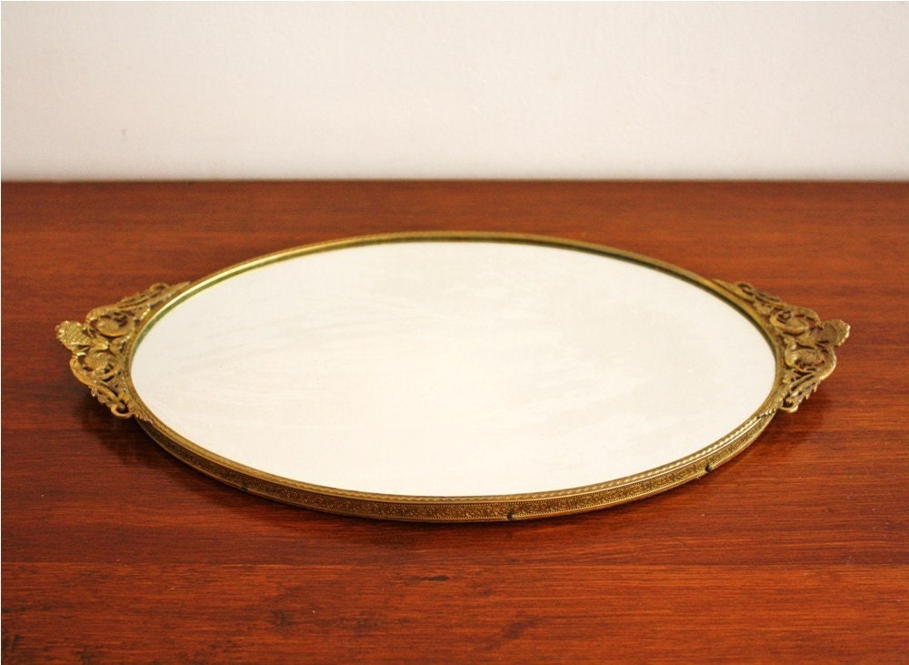 Antique Mirror Vanity Tray With Gold Frame