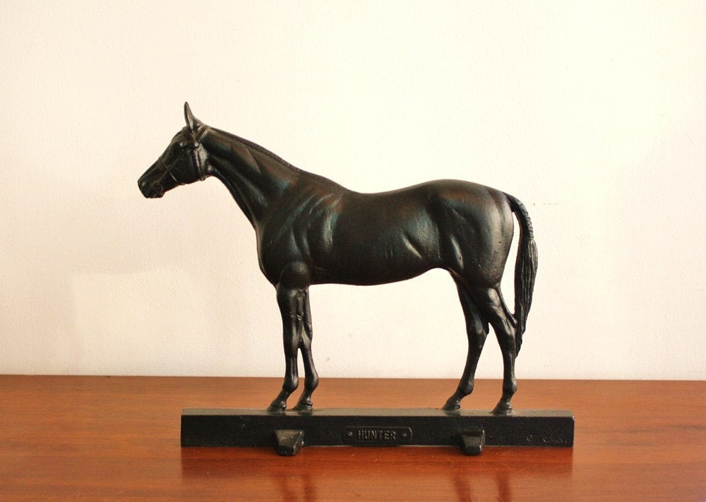 Antique Black Cast Iron Horse Doorstop Dated By