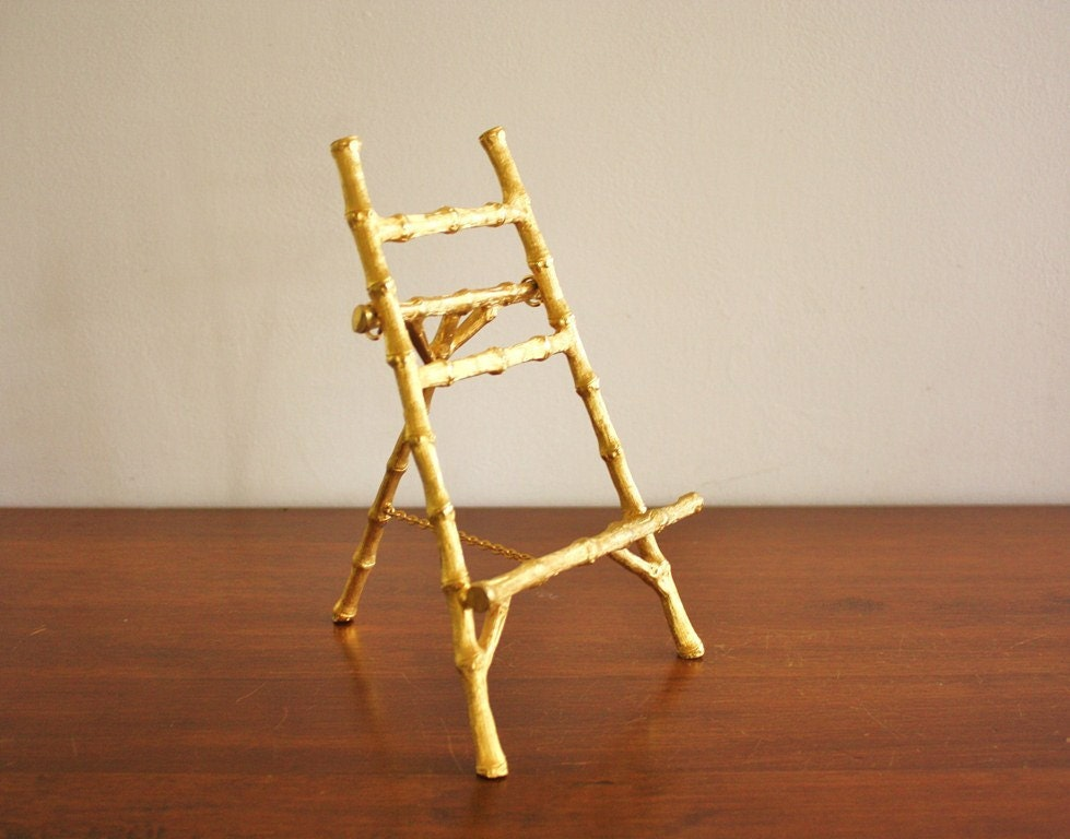 Vintage Gold Faux Bamboo Mini Easel