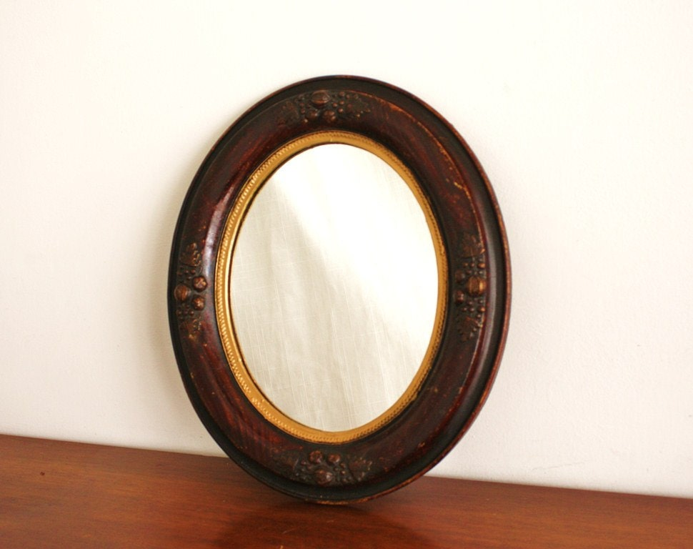 Antique Oval Wooden Mirror With Gold Trim