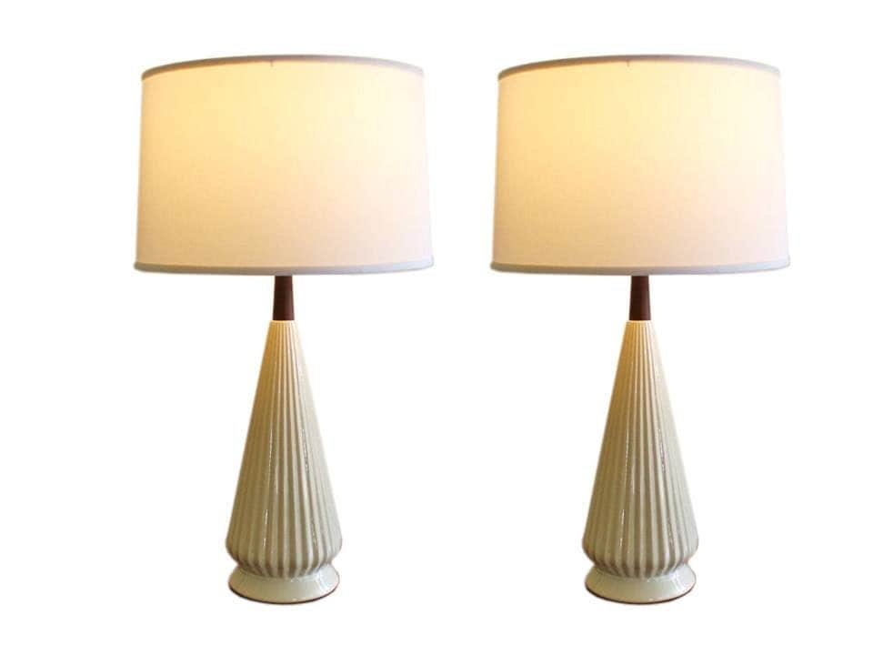 pair of mid century modern table lamp white ceramic with teak. Black Bedroom Furniture Sets. Home Design Ideas