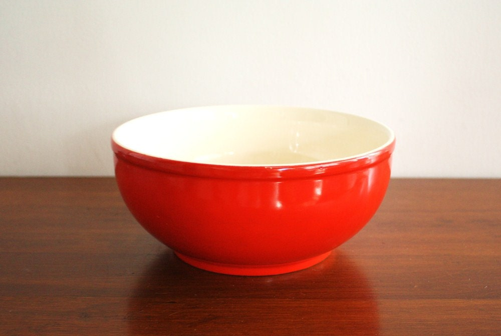 Large Red Ceramic Mixing Bowl With White Interior Universal