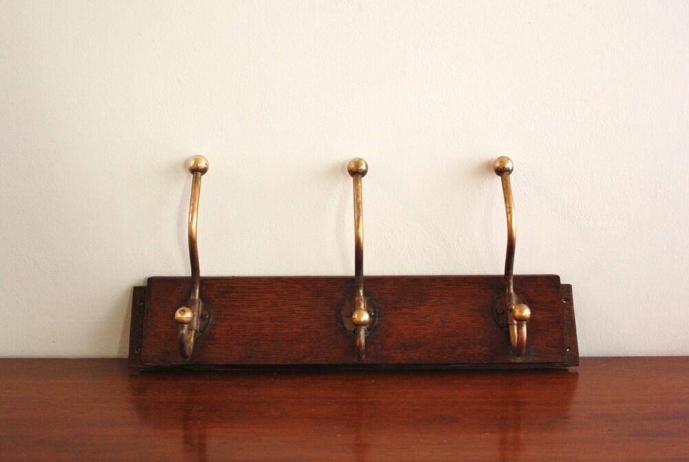 Antique wall mounted wood coat rack