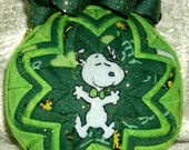 St Patrick's Day Snoopy and Woodstock Quilt Ornament with Charm