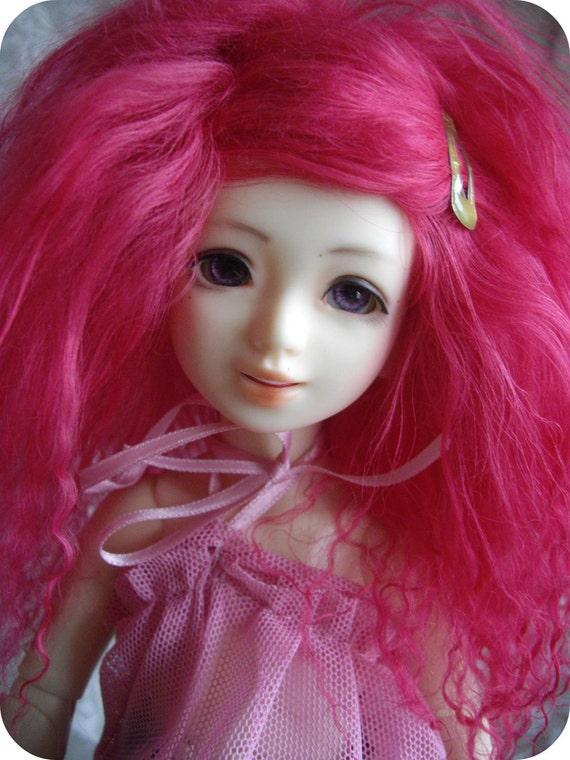 "Pink color Tibetan mohair wig for size 6/6,5"" Unoa Littlefee YOSD"
