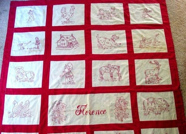Florence vintage redwork embroidery quilt pattern hand