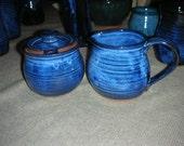 Wheel Thrown Blue Sugar Bowl and Creamer