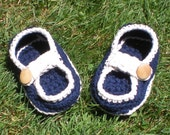 Baby Loafers in Navy and Ecru