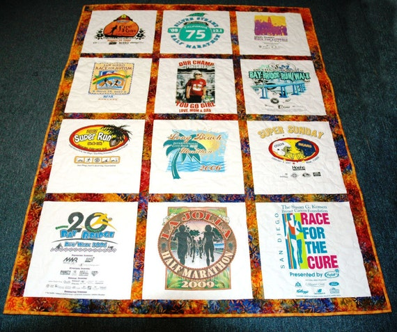 Custom Made - T-shirt Quilt - Throw siize - Traditional Style - 12 shirt Quilt