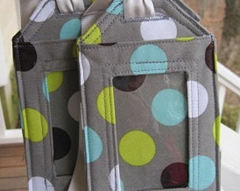 luggage tags/ Aqua,green, brown, white dots on gray