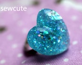 Aqua Blue Ring Glitter Resin Heart Shape With Adjustable Size Ring Unique Handmade Jewelry