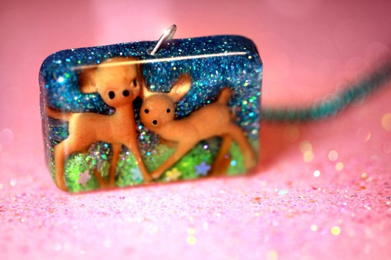RESERVED Fawn'd of You Deer... a kawaii cute little deer necklace handmade with love by isewcute