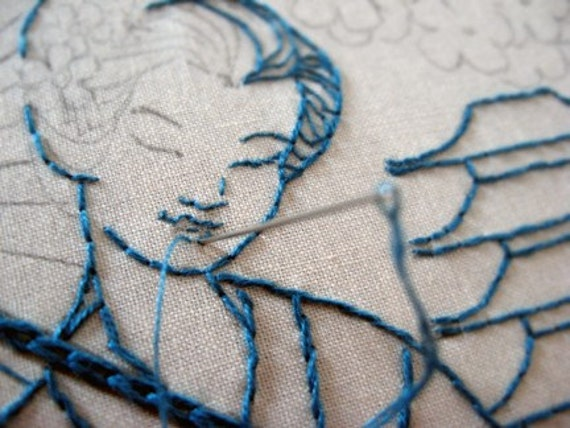 Elegant Geisha Hand Embroidery Pattern by isewcute