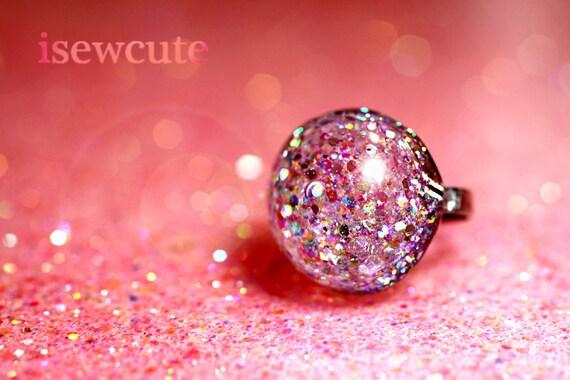 Harajuku Street Fashion Gumball Glitter Resin Dome Ring