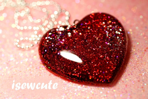 Statement Necklace - Large Red Glitter Heart pendant, ruby red, purple & silver highlight, unique standout jewelry for her by isewcute