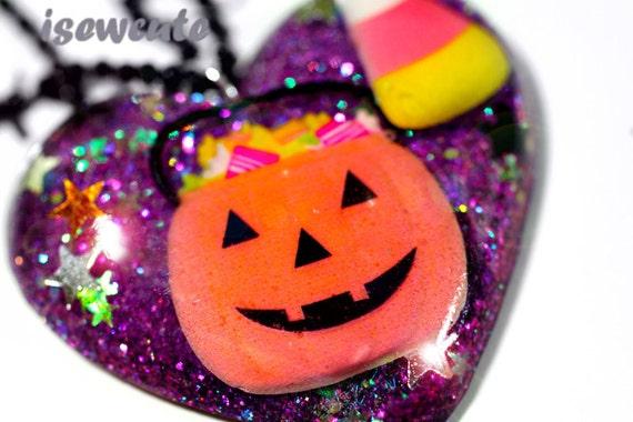 Halloween Jewelry All the Treats Resin Glitter Heart Necklace Cute Fall Jack 'O Lantern Fun Handmade by isewcute