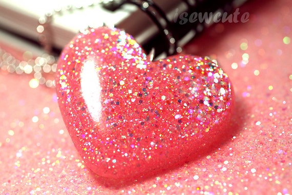 Heart Jewelry - Think Pink & Shimmery - Glittery Big Heart Resin Pendant Necklace Kawaii Cute Romantic Fun For Special Occasion by isewcute