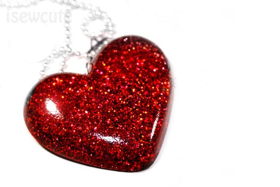 Red Hot Heart Resin Glitter Pendant Big Bold Statement Necklace by isewcute
