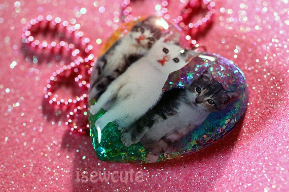 Cat Jewelry for Humans Three Little Kittens Resin Heart Necklace Full of Rainbow Glitter Handmade