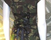 Vintage Camo Corset Jacket Top Military Army Soldier Combat Camo Upcycled recycled