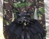 Camo Corset Bustle Jacket Military Army Steampunk Cosplay Victorian Coat DIY OOAK