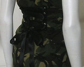 Vintage Camo Corset Jacket Tailcoat Military Army Steampunk Tails Tux Custom Made Upcycled