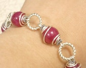 Dark Pink Jade Wrapped in Sterling Silver - Bracelet
