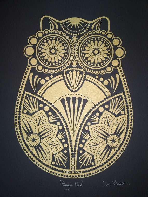 Gold Sugar Owl Screen Print