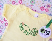 Chameleon Baby Bodysuit, Infant Creeper, One Piece Snapsuit, 3-6 or 6-12 Month Yellow Short-Sleeve