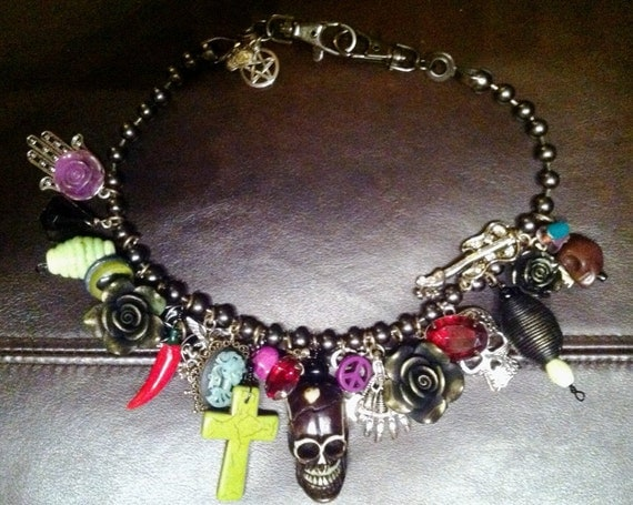 Rockabilly Day of the Dead SteamPunk Charm Necklace Sugar Skulls Full of Charms