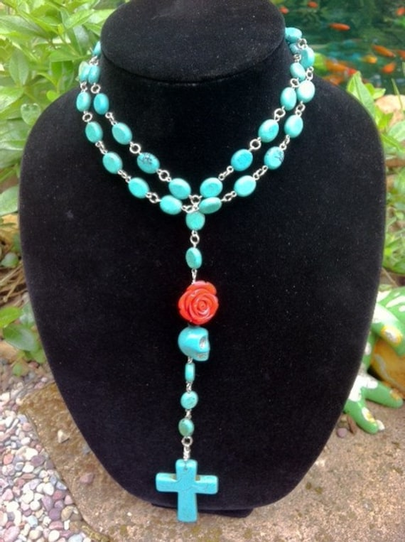 ROSARY Day of the Dead Turquoise Rosary Necklace Pendant Cross Skulls ROSARY Necklace All Gemstone Beads
