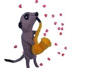 handknitted Meerkat for a Musician HANDMADE IN UK